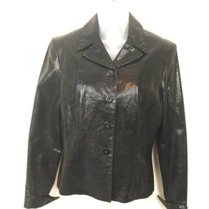 Vintage Cache Snake Embossed Leather Jacket Size 6